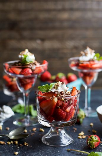 NUTELLA STRAWBERRY PARFAIT WITH COCONUT WHIPPED CREAM - an easy healthy dessert filled with fresh strawberries, drizzled with Nutella and Whipped Cream. The perfect Valentines Day dessert! | joyfulhealthyeats.com