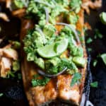 Paleo Baked Salmon with Avocado Salsa