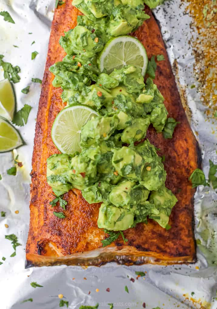 baked salmon topped with avocado
