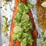 pinterest image for paleo baked salmon with avocado salsa