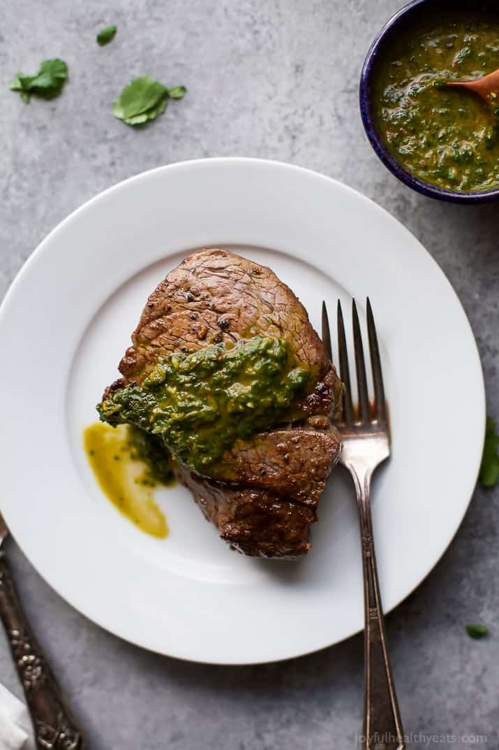15 MINUTE PAN SEARED FILET MIGNON with a zesty CHIMICHURRI - the ultimate date night recipe. An easy recipe to make that delivers on flavor in a big way! | joyfulhealthyeats.com | gluten free recipes