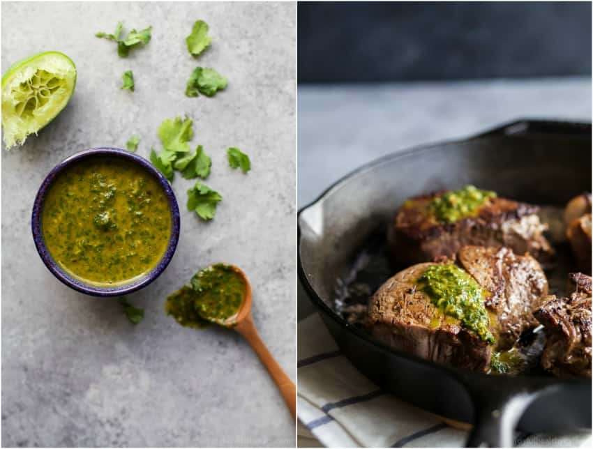 15 Minute Pan Seared Filet Mignon With Chimichurri Easy