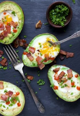 Image of Bacon Baked Eggs in Avocados
