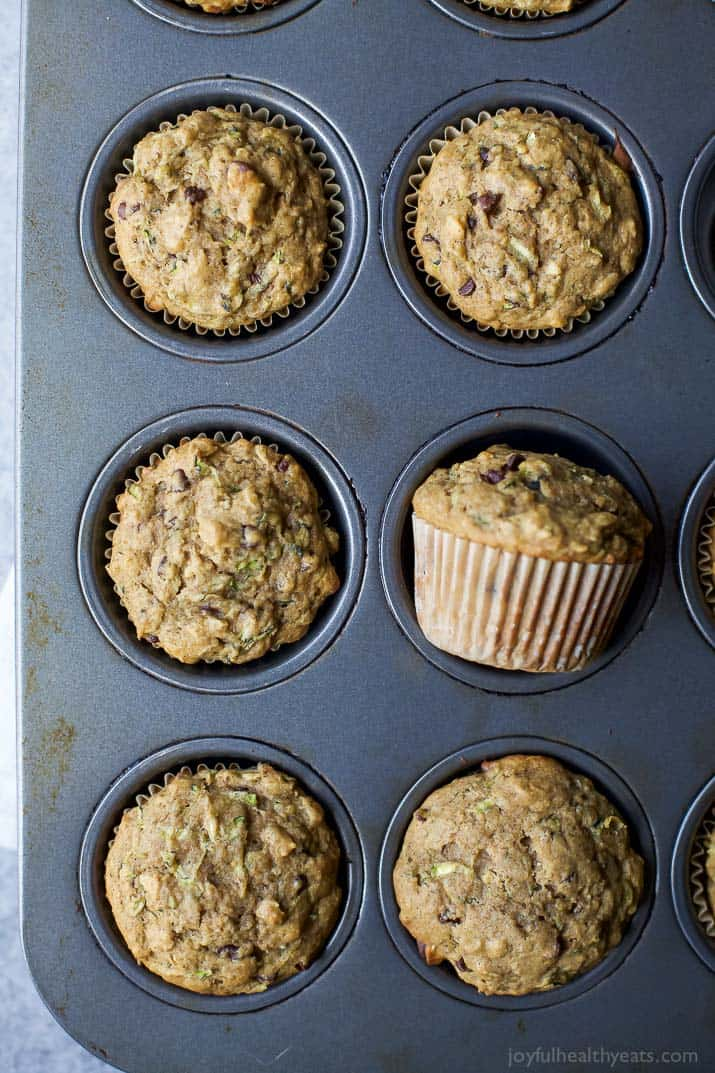 Top view of Chocolate Chip Zucchini Muffins in a muffin tin
