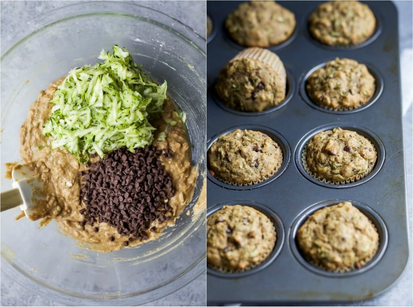 Collage of Chocolate Chip Zucchini muffin batter and muffins baked in a tin