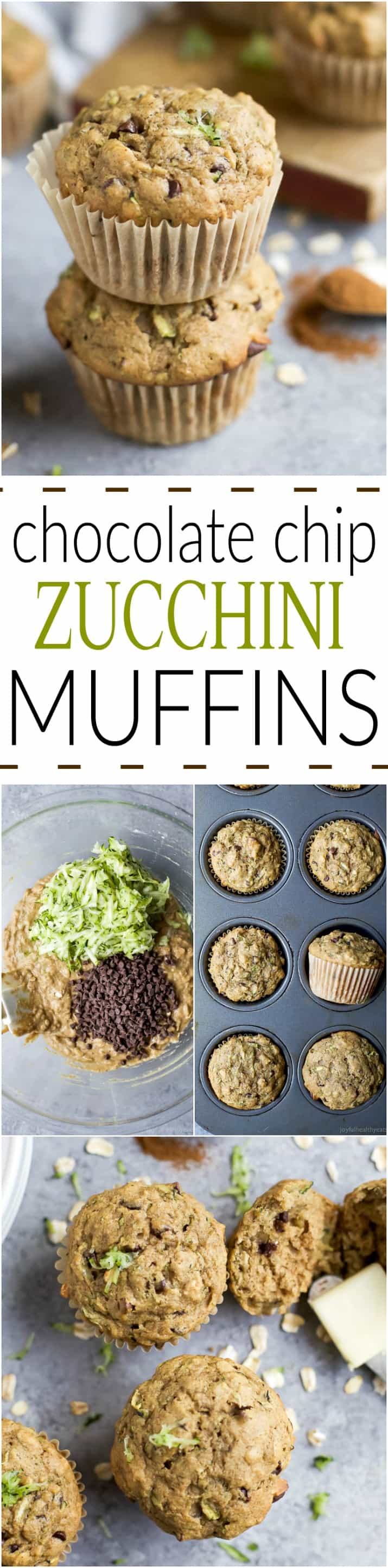 Pinterest collage for Chocolate Chip Zucchini Muffins recipe
