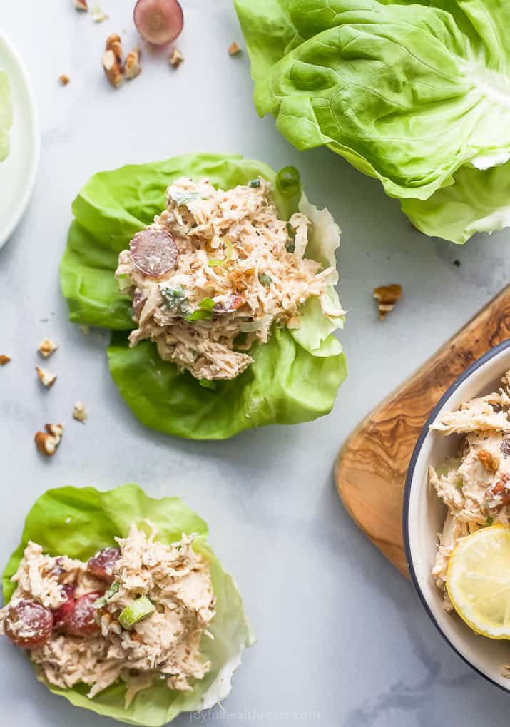 easy healthy chicken salad recipe on lettuce cups