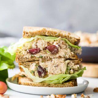 easy healthy chicken salad recipe on bread