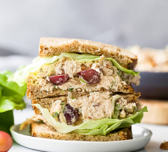 easy healthy chicken salad recipe on bread