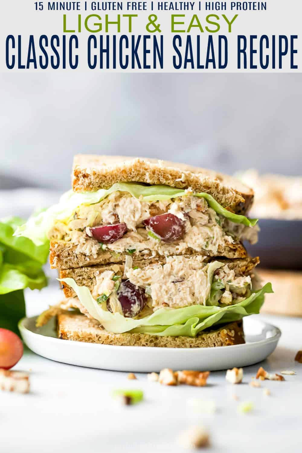 pinterest image for healthy classic chicken salad recipe