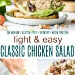 pinterest image for classic healthy chicken salad recipe