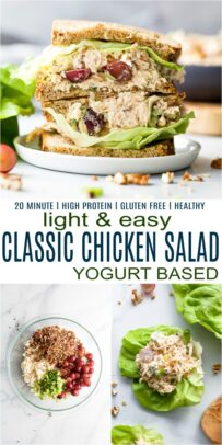 pinterest image for easy healthy classic chicken salad recipe