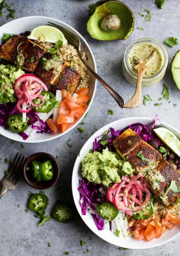 FISH TACO RICE BOWLS with avocado and pickled onions, topped with a Cilantro Lime Dressing! The perfect 30 minute meal to satisfy even the pickiest of eaters! | joyfulhealthyeats.com | Gluten Free Recipes