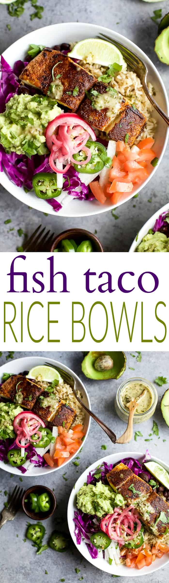 FISH TACO RICE BOWLS with avocado & pickled onions, topped with a Cilantro Lime Dressing! The perfect 30 minute meal to satisfy even the pickiest of eaters!