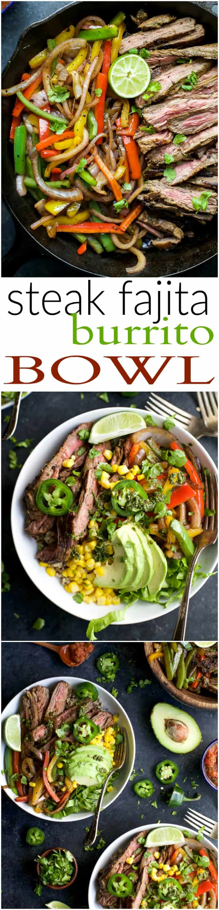 Homemade STEAK FAJITA BURRITO BOWLS filled with quinoa, fajita steak, avocado and a cilantro lime chimichurri sauce you'll adore. This quick Burrito Bowl is done in 30 minutes and is sure to be a favorite! | joyfulhealthyeats.com | Gluten Free Recipes