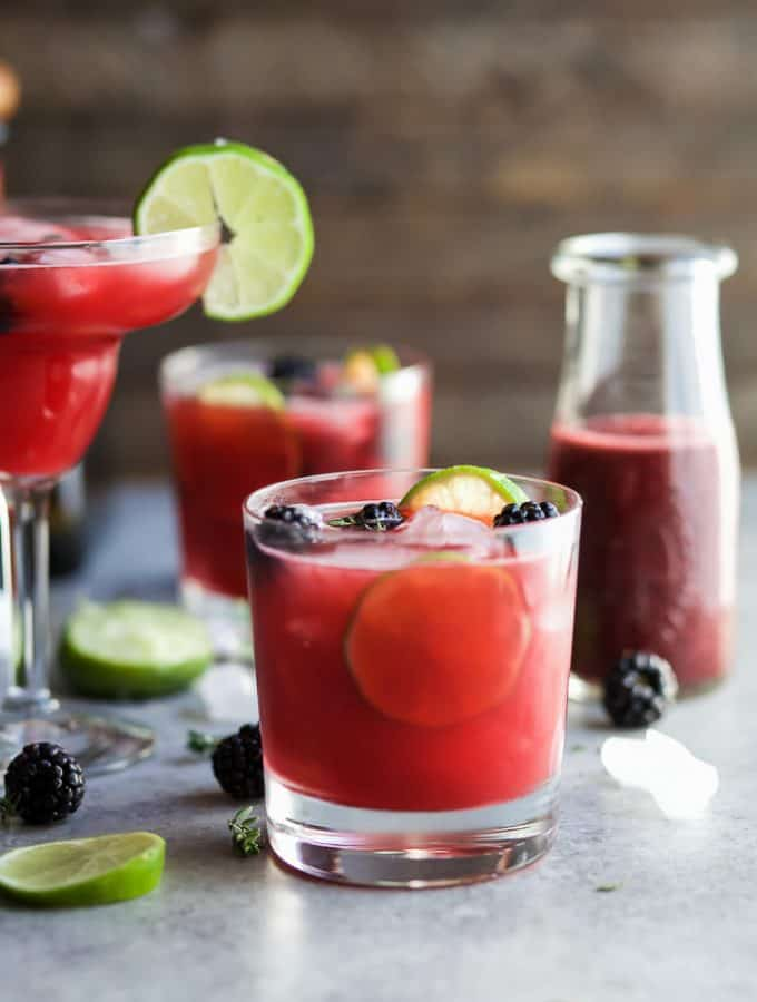 THYME BLACKBERRY MARGARITAS, as gorgeous as they are delicious! This is one smooth margarita with a hint of citrus, blackberry flavor and subtle notes of fresh thyme! You're gonna fall in love!   joyfulhealthyeats.com