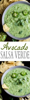 Avocado salsa verde in a bowl with chips