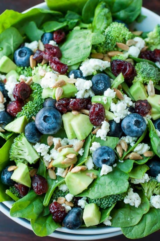 blueberry broccoli spinach salad