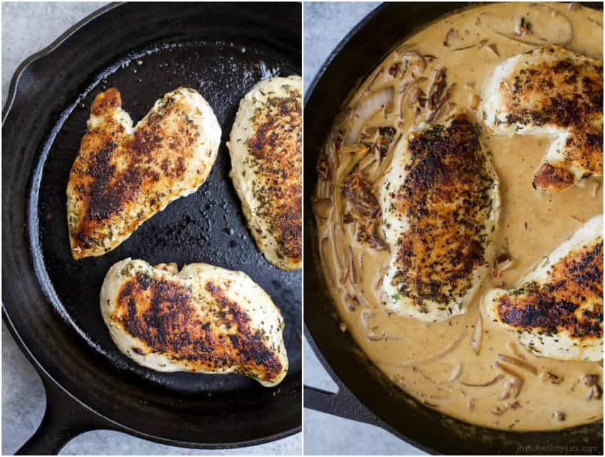 Browned Chicken breasts in a skillet and with creamy sauce added