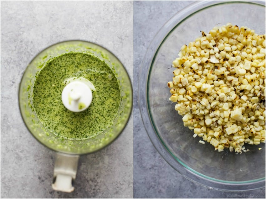 Collage of top view of jalapeno dressing in a food processor and grilled corn in a mixing bowl