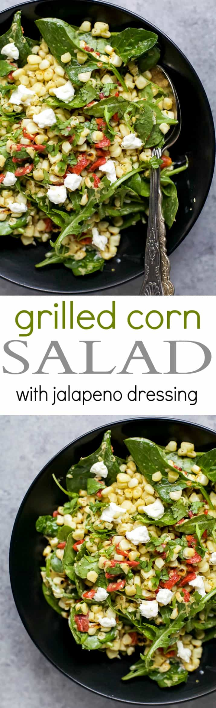 Recipe collage for Grilled Corn Salad with Jalapeno Dressings