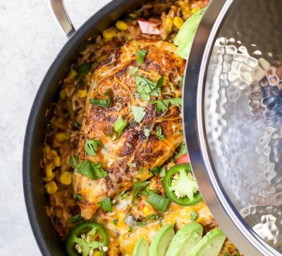 ONE PAN SOUTHWESTERN CHICKEN AND RICE - an easy healthy dinner recipe all made in one pan for easy cleanup! It's perfect for the family and bursting with flavor! | joyfulhealthyeats.com #ad | gluten free recipes