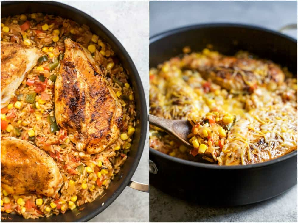 Two Images of One Pan Southwestern Chicken and Rice