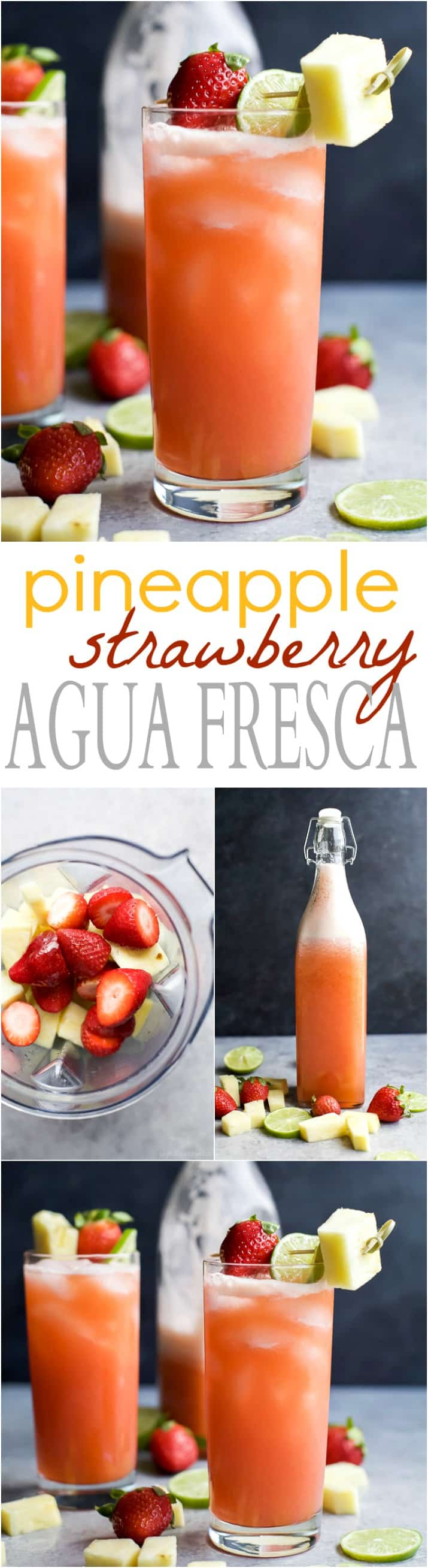 PINEAPPLE STRAWBERRY AGUA FRESCA - a light refreshing drink to keep you cool all summer long! This Agua Fresca takes less than 10 minutes to make and is sweetened with agave nectar. | joyfulhealthyeats.com