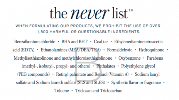 Image result for beautycounter never list