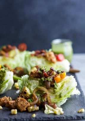 Southwestern Cobb Wedge Salad with Homemade Poblano Dressing