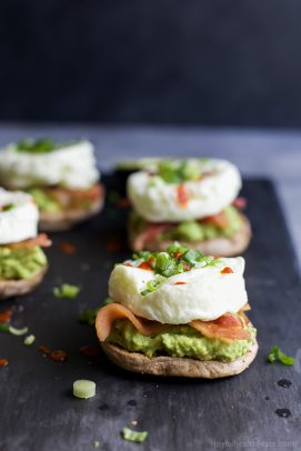 "Easy 15 minute BACON AVOCADO EGG WHITE BREAKFAST SANDWICH, an easy ""power"" breakfast with 15 grams of protein per serving. 