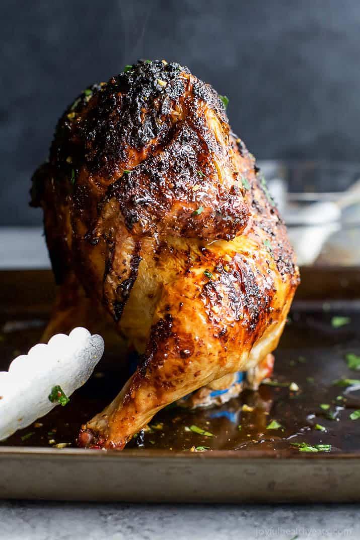 Glazed Honey Garlic Beer Can Chicken - the most tender and juiciest chicken recipe EVER! #ad