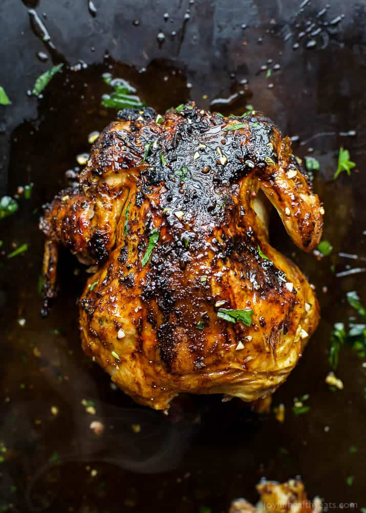 Top view of Glazed Honey Garlic Beer Can Chicken