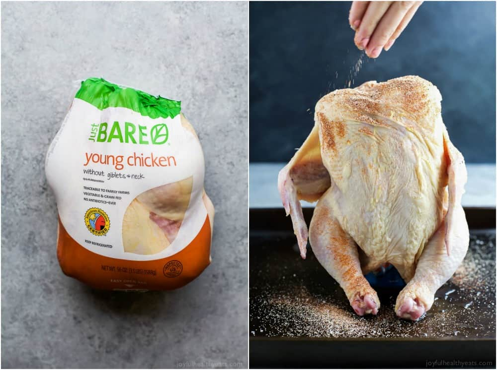 Whole Raw chicken in a package and standing upright on a baking sheet with seasonings