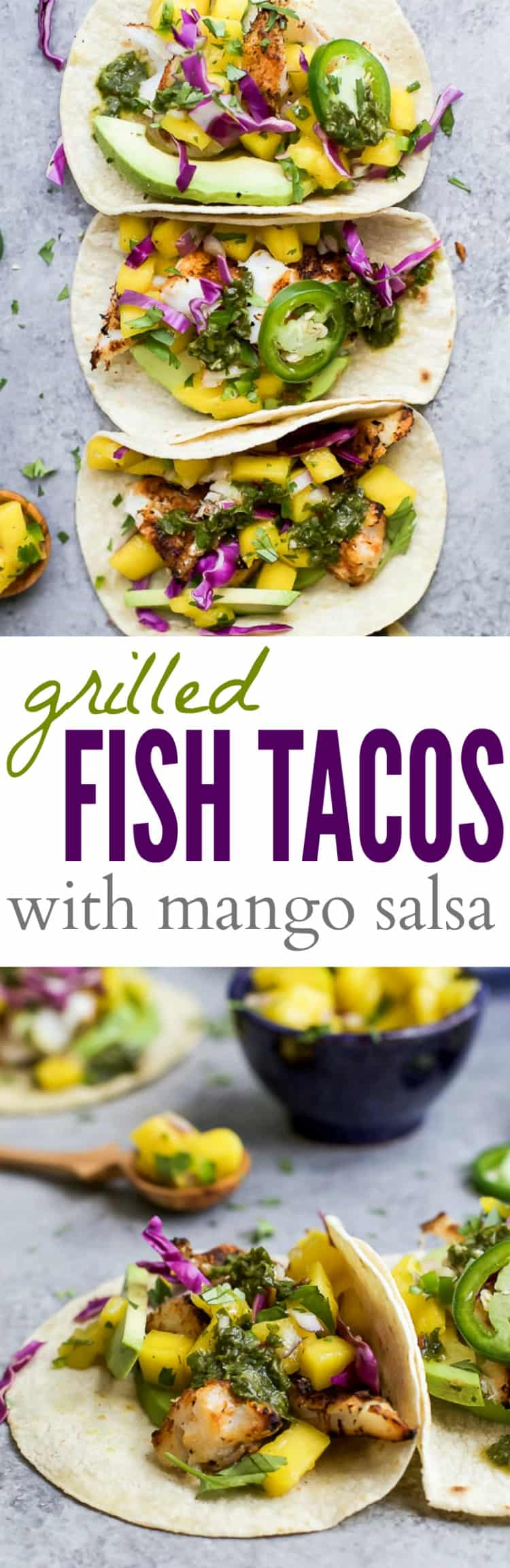 Recipe collage for Grilled Fish Tacos with Mango Salsa
