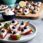 Patriotic Cheesecake Stuffed Strawberries