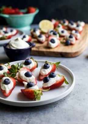 Patriotic Cheesecake Stuffed Strawberries Image