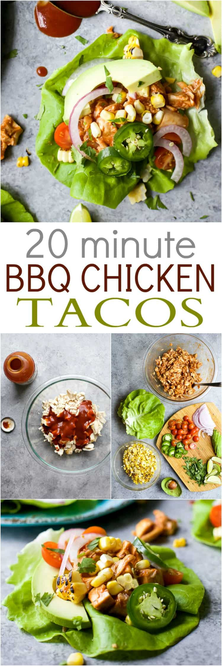 20 Minute BBQ Chicken Tacos with a short cut you're gonna love. This Chicken Tacos are loaded with light fresh flavors and are less than 300 calories a serving! #glutenfree