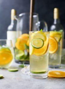 Glasses of Citrus White Wine Sangria