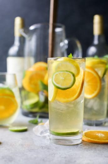 Glasses of Citrus White Wine Sangria