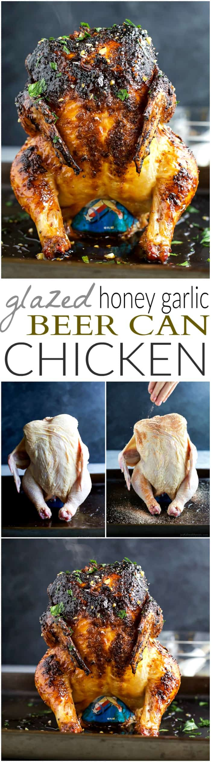 Recipe collage for Glazed Honey Garlic Beer Can Chicken