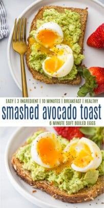pinterest image for Smashed Avocado Toast with 6 Minute Egg