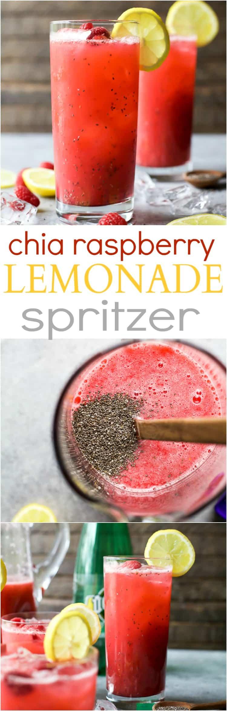 Pinterest collage for Chia Raspberry Lemonade Spritzer recipe