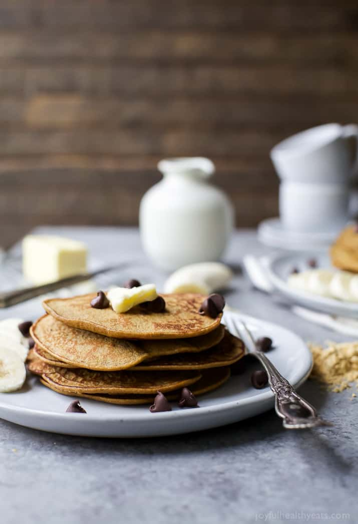Flourless Peanut Chocolate Chip Pancakes made in the blender and only 290 calories. The perfect breakfast for Saturday mornings! Plus who can resist chocolate and peanut butter!   #ad   gluten free recipes