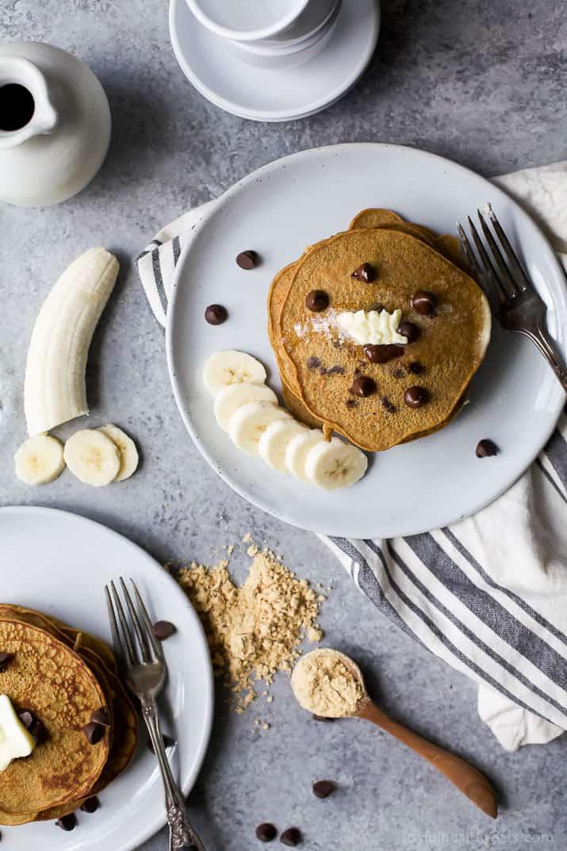 Image of Flourless Peanut Chocolate Chip Pancakes with Bananas