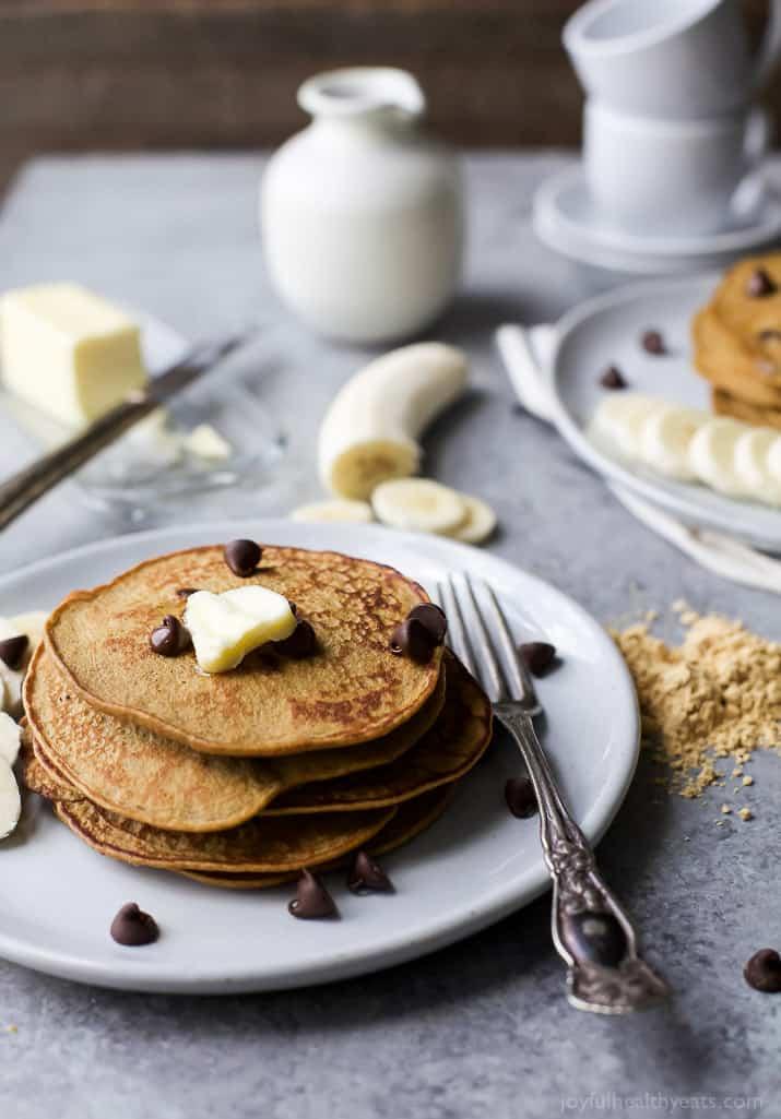 Image of Flourless Peanut Chocolate Chip Pancakes