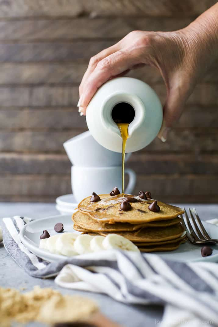 Image of Flourless Peanut Chocolate Chip Pancakes with Maple Syrup