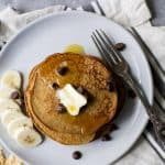 Image of Flourless Peanut Chocolate Chip Pancakes with Banana Slices