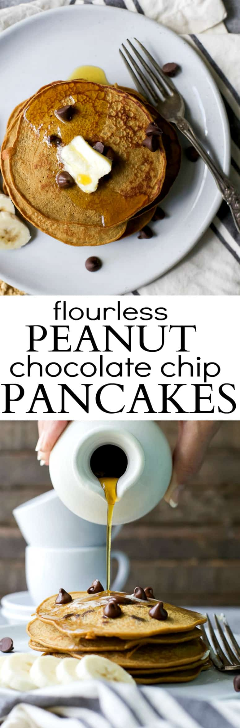 Recipe collage for Flourless Peanut Chocolate Chip Pancakes