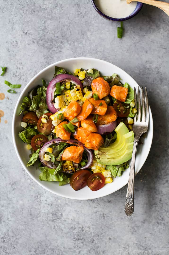Grilled Buffalo Chicken Salad an easy 30 minute recipe smothered in buffalo sauce and filled with grilled vegetables for one delicious bite! Summer salads never tasted so good! | gluten free recipes